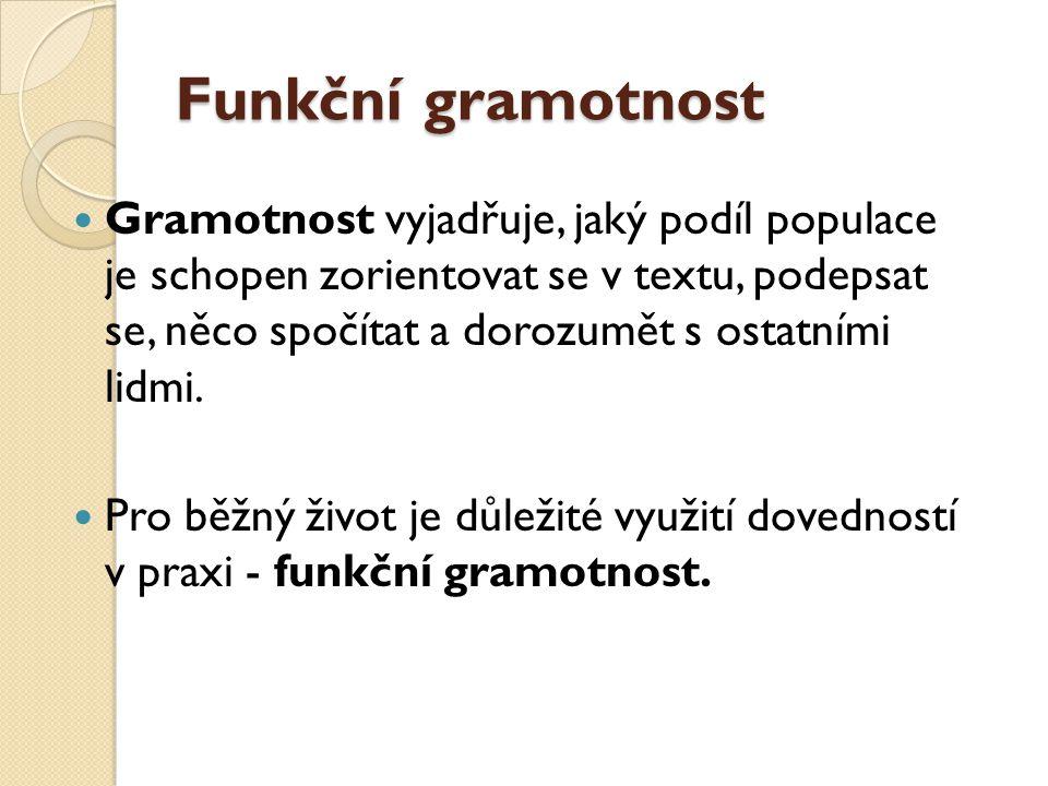 Funkční gramotnost Gramotnost vyjadřuje, jaký podíl populace je schopen zorientovat se v textu, podepsat se, něco spočítat a dorozumět s ostatními lidmi.
