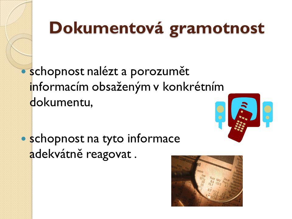Dokumentová gramotnost schopnost nalézt a porozumět informacím obsaženým v konkrétním dokumentu, schopnost na tyto informace adekvátně reagovat.
