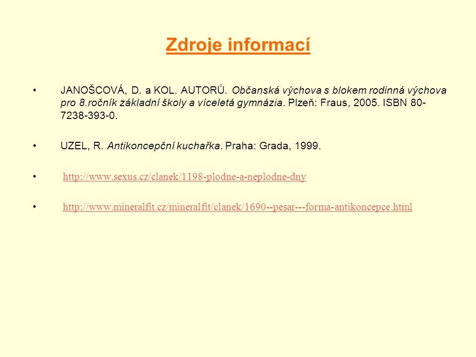 Zdroje informací JANOŠCOVÁ, D. a KOL. AUTORŮ. Občanská výchova s blokem rodinná výchova pro 8.ročník základní školy a víceletá gymnázia. Plzeň: Fraus,
