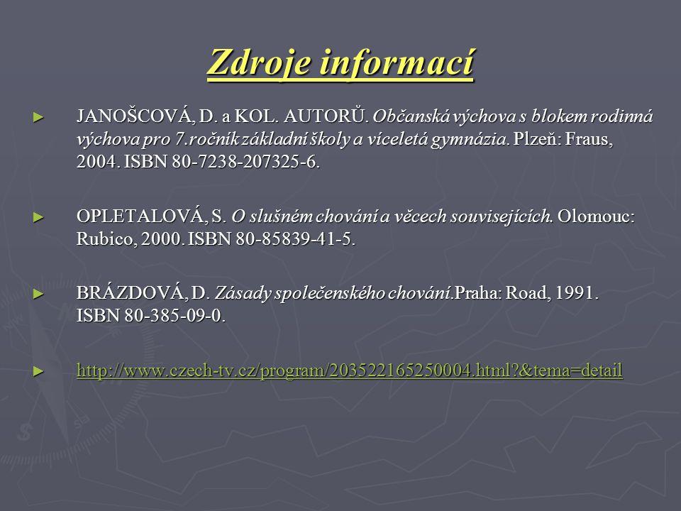 Zdroje informací ► JANOŠCOVÁ, D. a KOL. AUTORŮ. Občanská výchova s blokem rodinná výchova pro 7.ročník základní školy a víceletá gymnázia. Plzeň: Frau