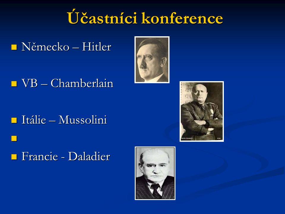 Německo – Hitler Německo – Hitler VB – Chamberlain VB – Chamberlain Itálie – Mussolini Itálie – Mussolini Francie - Daladier Francie - Daladier Účastníci konference