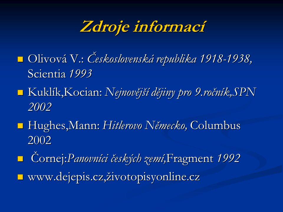 Zdroje informací Olivová V.: Československá republika 1918-1938, Scientia 1993 Olivová V.: Československá republika 1918-1938, Scientia 1993 Kuklík,Ko