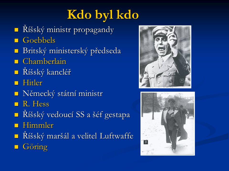 Kdo byl kdo Říšský ministr propagandy Říšský ministr propagandy Goebbels Goebbels Britský ministerský předseda Britský ministerský předseda Chamberlain Chamberlain Říšský kancléř Říšský kancléř Hitler Hitler Německý státní ministr Německý státní ministr R.
