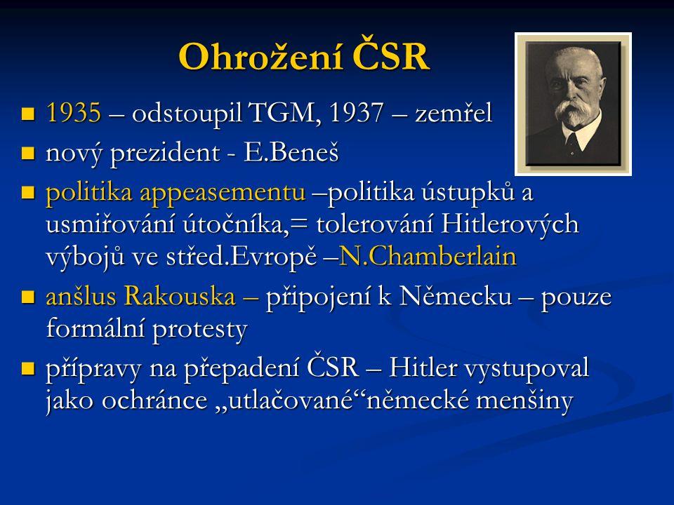 Ohrožení ČSR 1935 – odstoupil TGM, 1937 – zemřel 1935 – odstoupil TGM, 1937 – zemřel nový prezident - E.Beneš nový prezident - E.Beneš politika appeas