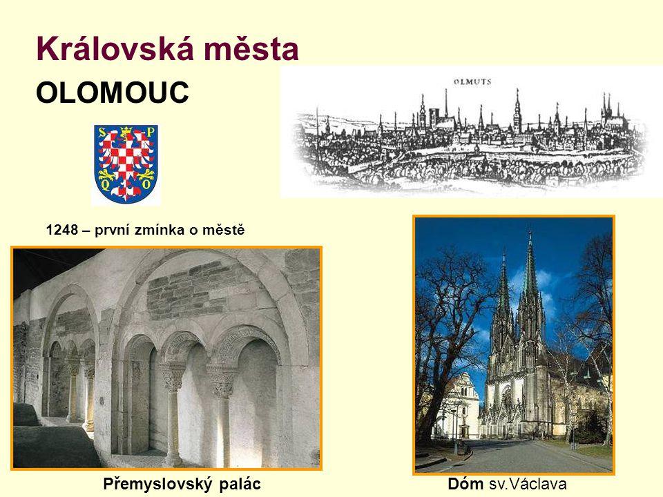 Královská města OLOMOUC 1248 – první zmínka o městě Přemyslovský palácDóm sv.Václava