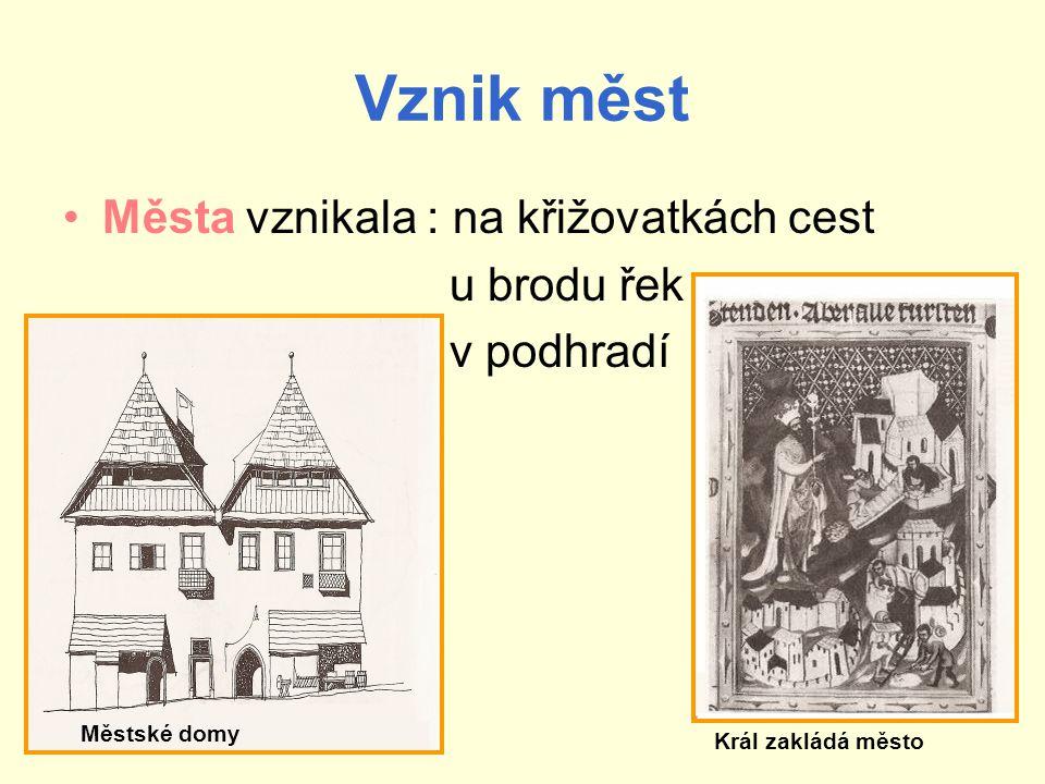 Vznik měst Města vznikala : na křižovatkách cest u brodu řek v podhradí Městské domy Král zakládá město