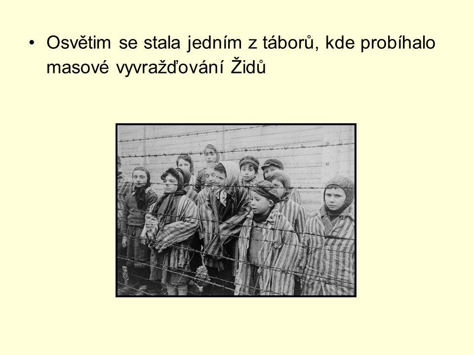 Osvětim se stala jedním z táborů, kde probíhalo masové vyvražďování Židů