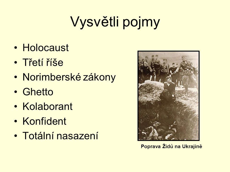 Vysvětli pojmy Holocaust Třetí říše Norimberské zákony Ghetto Kolaborant Konfident Totální nasazení Poprava Židů na Ukrajině