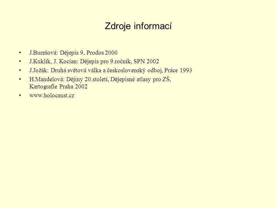 Zdroje informací J.Burešová: Dějepis 9, Prodos 2000 J.Kuklík, J.