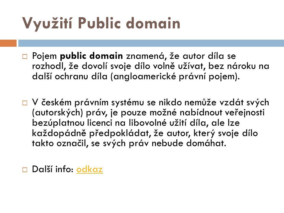 Využití Public domain  Pojem public domain znamená, že autor díla se rozhodl, že dovolí svoje dílo volně užívat, bez nároku na další ochranu díla (angloamerické právní pojem).