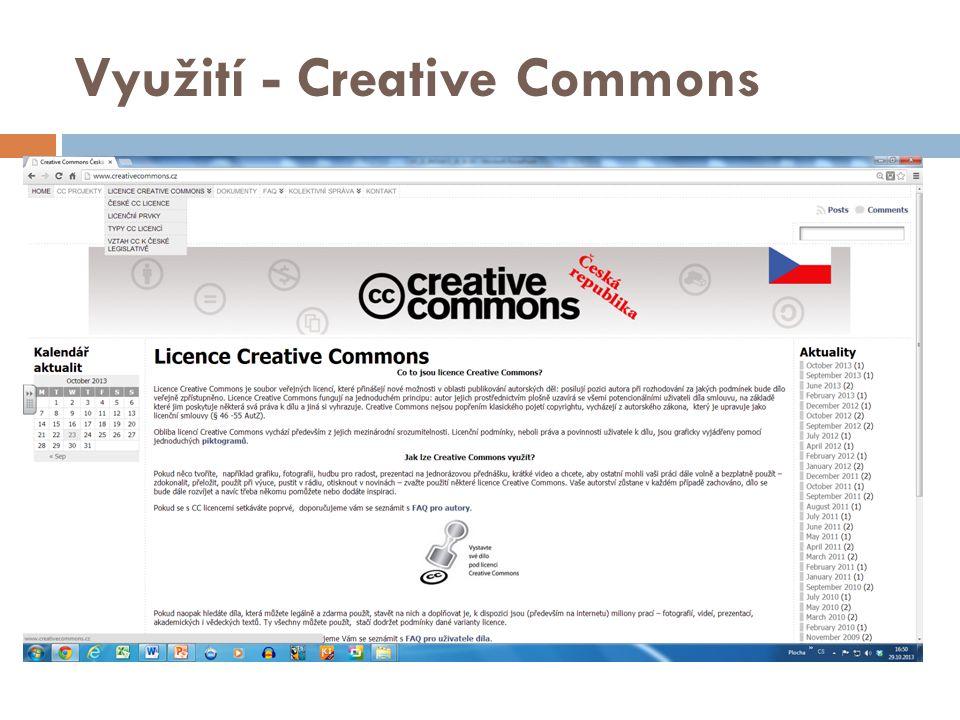 Creative Commons  Na webových stránkách Creative Commons si držitel autorských práv může vybrat z řady volných licencí, které poté může použít při zveřejnění svého díla na webu.
