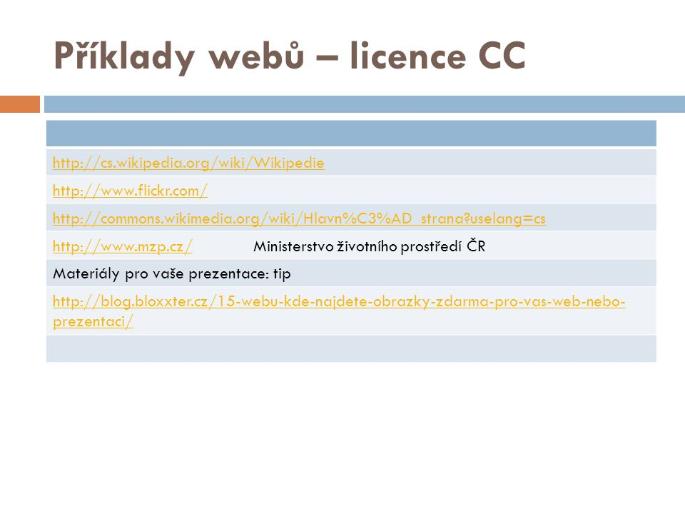 Příklady webů – licence CC http://cs.wikipedia.org/wiki/Wikipedie http://www.flickr.com/ http://commons.wikimedia.org/wiki/Hlavn%C3%AD_strana?uselang=