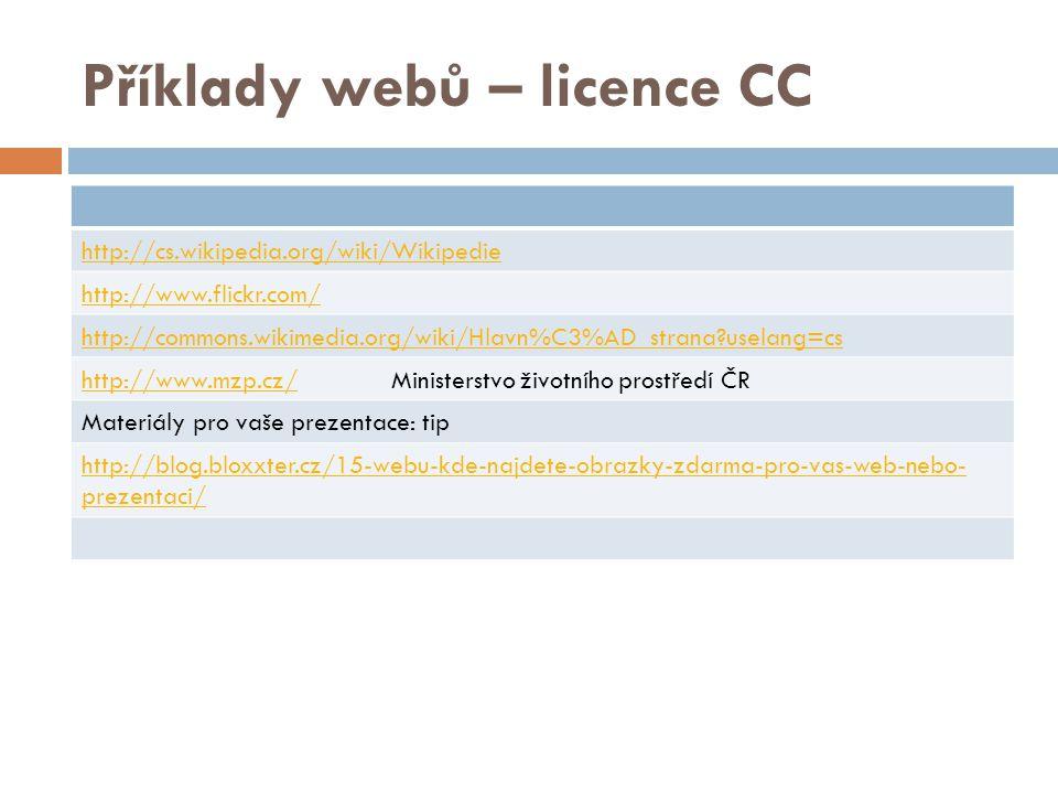 Úkol č. 1: V následujících slide urči, o kterou z licencí CC se jedná: a) b) c)