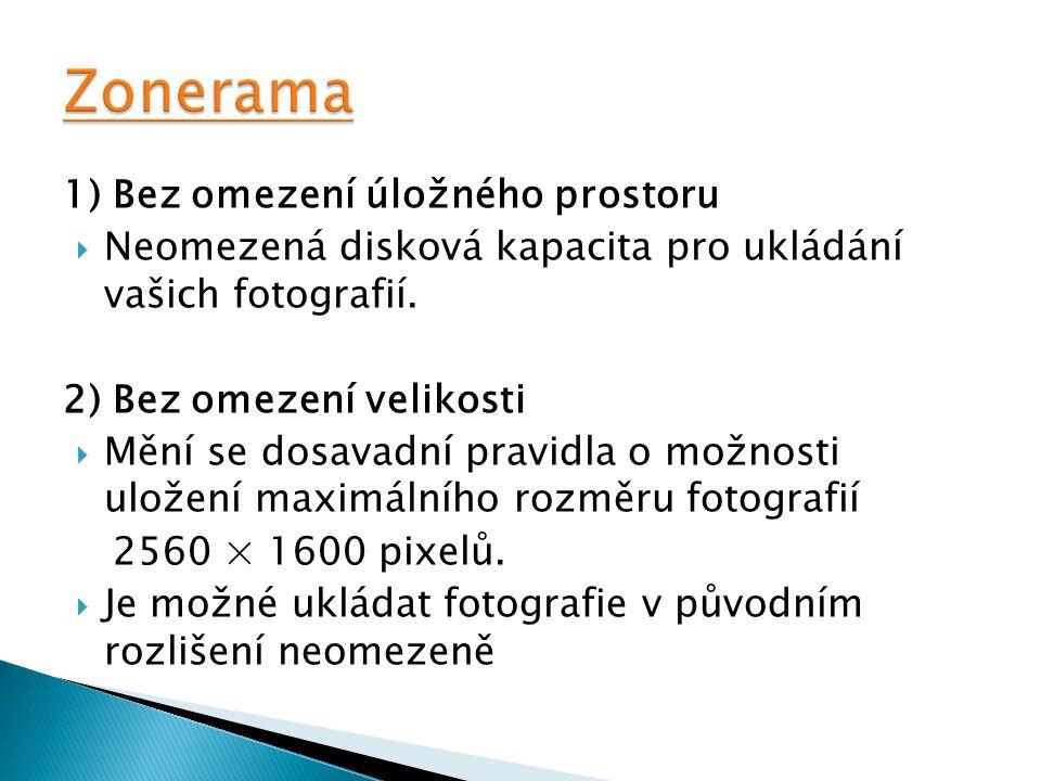 1) Bez omezení úložného prostoru  Neomezená disková kapacita pro ukládání vašich fotografií. 2) Bez omezení velikosti  Mění se dosavadní pravidla o