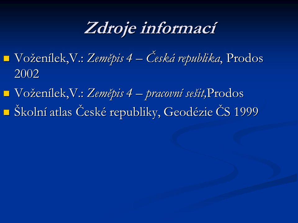 Zdroje informací Voženílek,V.: Zeměpis 4 – Česká republika, Prodos 2002 Voženílek,V.: Zeměpis 4 – Česká republika, Prodos 2002 Voženílek,V.: Zeměpis 4