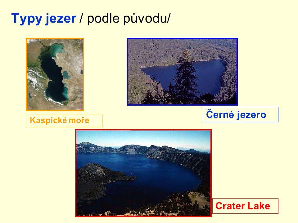 Typy jezer / podle původu/ Černé jezero Kaspické moře Crater Lake