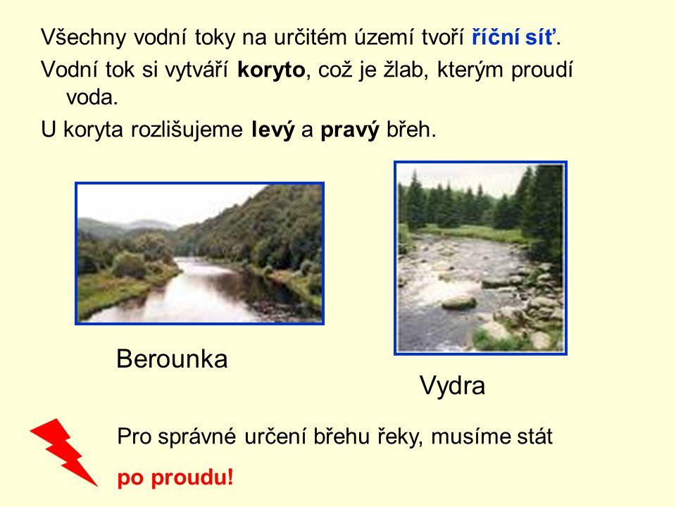 Všechny vodní toky na určitém území tvoří říční síť. Vodní tok si vytváří koryto, což je žlab, kterým proudí voda. U koryta rozlišujeme levý a pravý b