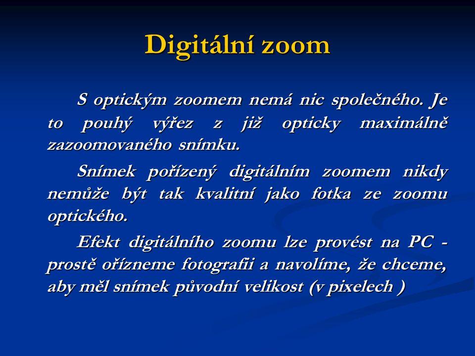 Digitální zoom S optickým zoomem nemá nic společného.
