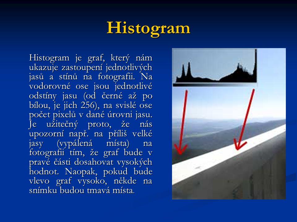 Histogram Histogram je graf, který nám ukazuje zastoupení jednotlivých jasů a stínů na fotografii.