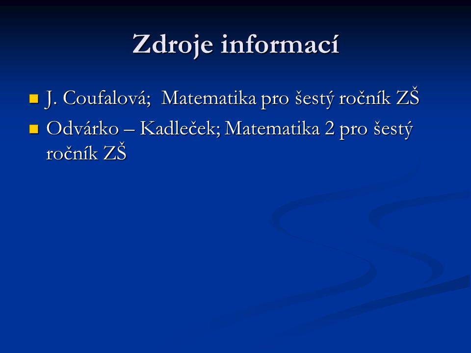 Zdroje informací J. Coufalová; Matematika pro šestý ročník ZŠ J.