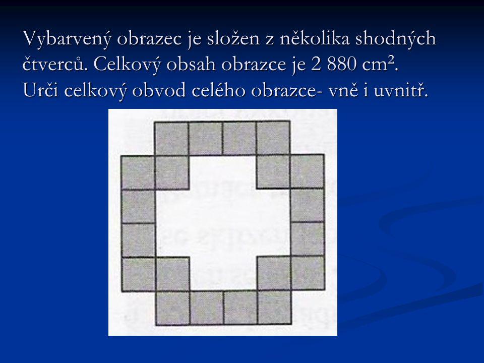 Vybarvený obrazec je složen z několika shodných čtverců.