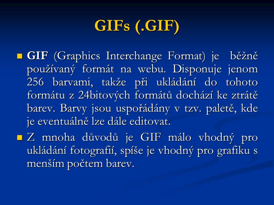 GIFs (.GIF) GIF (Graphics Interchange Format) je běžně používaný formát na webu. Disponuje jenom 256 barvami, takže při ukládání do tohoto formátu z 2