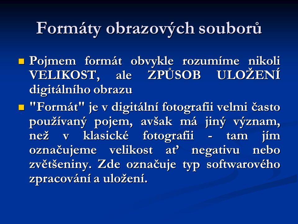 Formáty obrazových souborů Pojmem formát obvykle rozumíme nikoli VELIKOST, ale ZPŮSOB ULOŽENÍ digitálního obrazu Formát je v digitální fotografii velmi často používaný pojem, avšak má jiný význam, než v klasické fotografii - tam jím označujeme velikost ať negativu nebo zvětšeniny.