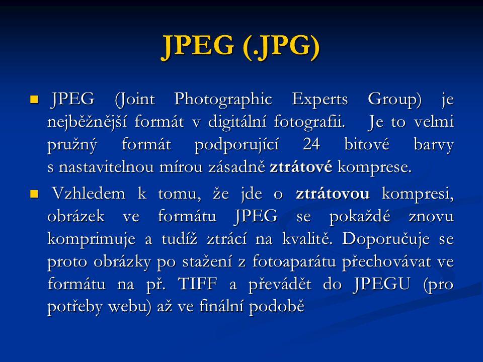 JPEG (.JPG) JPEG (Joint Photographic Experts Group) je nejběžnější formát v digitální fotografii. Je to velmi pružný formát podporující 24 bitové barv