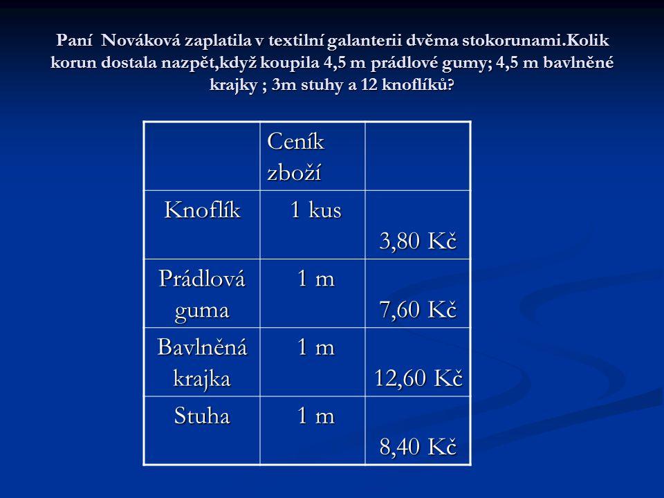 Paní Nováková zaplatila v textilní galanterii dvěma stokorunami.Kolik korun dostala nazpět,když koupila 4,5 m prádlové gumy; 4,5 m bavlněné krajky ; 3m stuhy a 12 knoflíků .