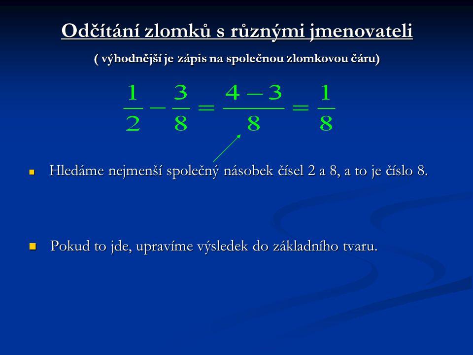 Odčítání zlomků s různými jmenovateli ( výhodnější je zápis na společnou zlomkovou čáru) Hledáme nejmenší společný násobek čísel 2 a 8, a to je číslo