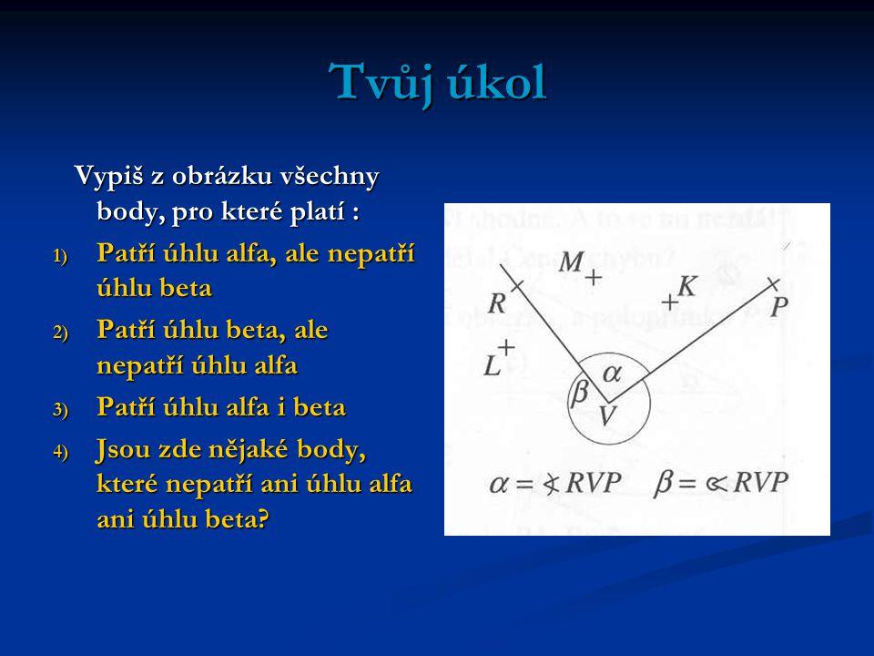 Tvůj úkol Vypiš z obrázku všechny body, pro které platí : Vypiš z obrázku všechny body, pro které platí : 1) Patří úhlu alfa, ale nepatří úhlu beta 2)