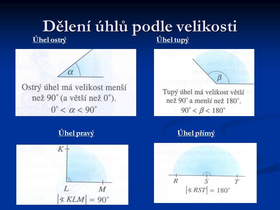 Dělení úhlů podle velikosti Úhel pravýÚhel přímý Úhel ostrýÚhel tupý