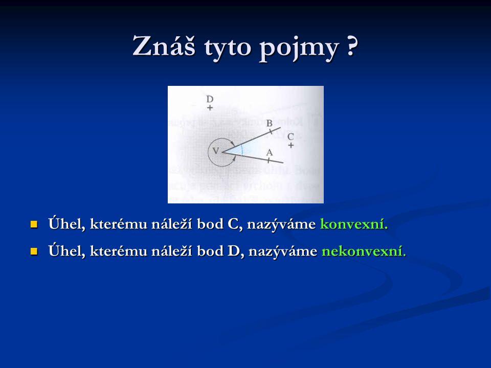 Znáš tyto pojmy ? Úhel, kterému náleží bod C, nazýváme konvexní. Úhel, kterému náleží bod D, nazýváme nekonvexní.