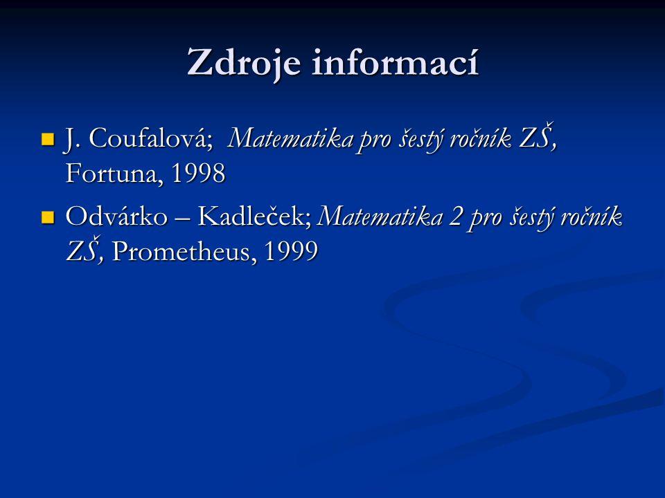 Zdroje informací J. Coufalová; Matematika pro šestý ročník ZŠ, Fortuna, 1998 J. Coufalová; Matematika pro šestý ročník ZŠ, Fortuna, 1998 Odvárko – Kad