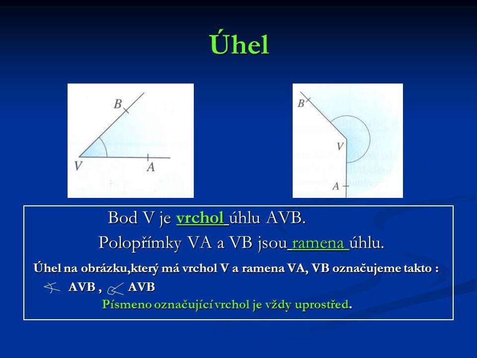 Úhel Bod V je vrchol úhlu AVB. Polopřímky VA a VB jsou ramena úhlu. Úhel na obrázku,který má vrchol V a ramena VA, VB označujeme takto : AVB, AVB Písm
