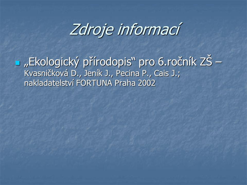 """Zdroje informací """"Ekologický přírodopis"""" pro 6.ročník ZŠ – Kvasničková D., Jeník J., Pecina P., Cais J.; nakladatelství FORTUNA Praha 2002 """"Ekologický"""