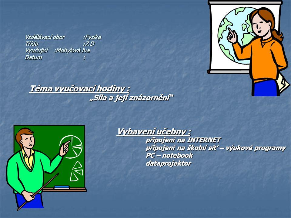 """Vzdělávací obor:Fyzika Třída:7.D Vyučující:Mohylová Iva Datum: Téma vyučovací hodiny : """"Síla a její znázornění"""" """"Síla a její znázornění"""" Vybavení učeb"""