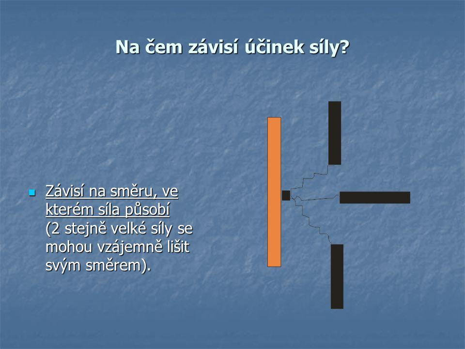 Na čem závisí účinek síly? Závisí na směru, ve kterém síla působí (2 stejně velké síly se mohou vzájemně lišit svým směrem). Závisí na směru, ve které