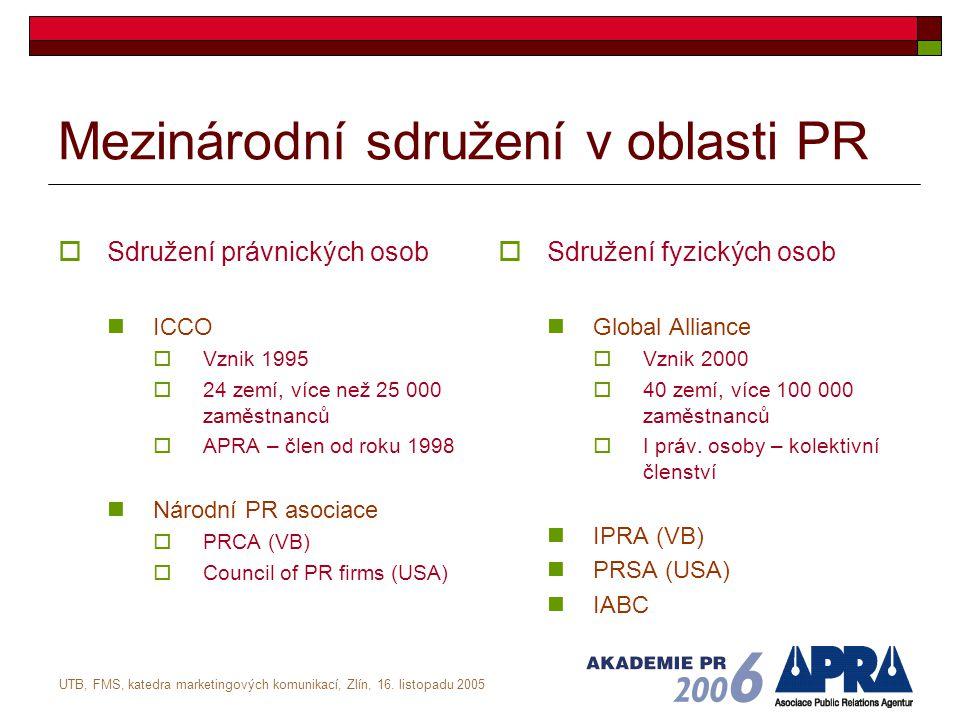 UTB, FMS, katedra marketingových komunikací, Zlín, 16. listopadu 2005 Mezinárodní sdružení v oblasti PR  Sdružení právnických osob ICCO  Vznik 1995