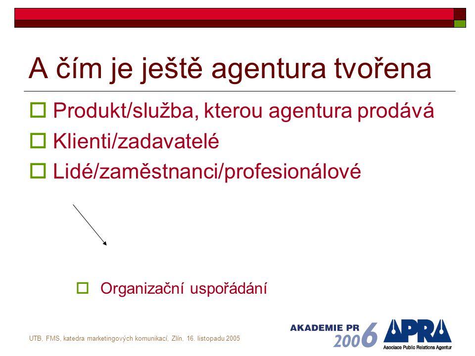 UTB, FMS, katedra marketingových komunikací, Zlín, 16. listopadu 2005 A čím je ještě agentura tvořena  Produkt/služba, kterou agentura prodává  Klie