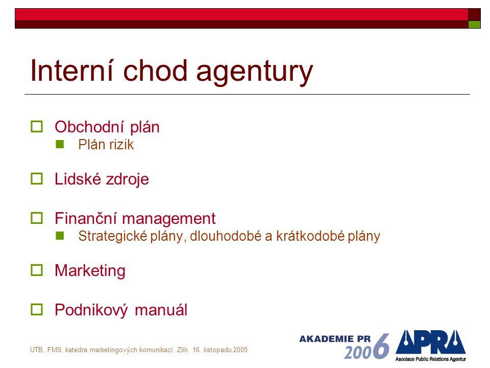 UTB, FMS, katedra marketingových komunikací, Zlín, 16. listopadu 2005 Interní chod agentury  Obchodní plán Plán rizik  Lidské zdroje  Finanční mana