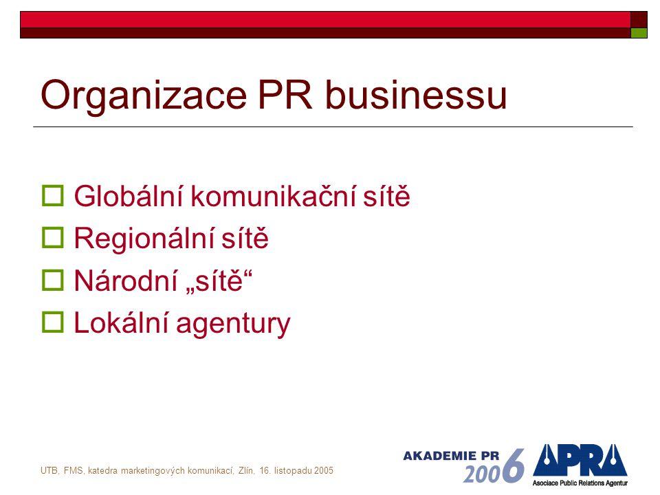 UTB, FMS, katedra marketingových komunikací, Zlín, 16. listopadu 2005 Organizace PR businessu  Globální komunikační sítě  Regionální sítě  Národní