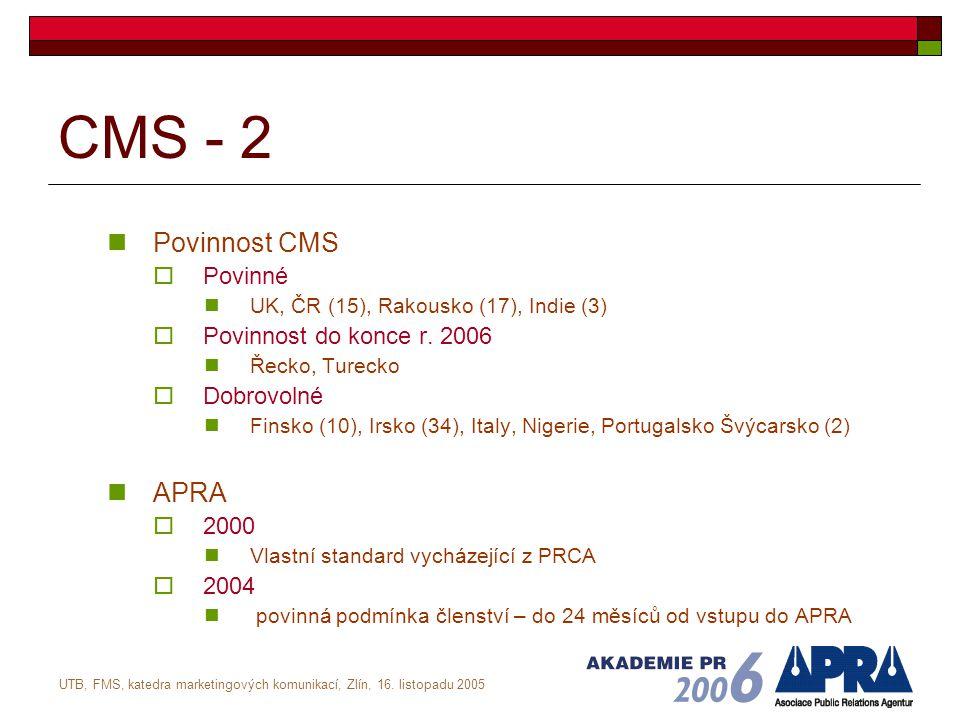 UTB, FMS, katedra marketingových komunikací, Zlín, 16. listopadu 2005 CMS - 2 Povinnost CMS  Povinné UK, ČR (15), Rakousko (17), Indie (3)  Povinnos