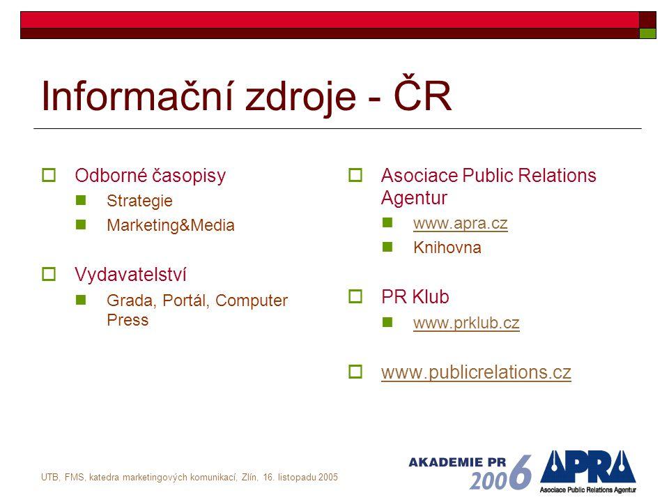 UTB, FMS, katedra marketingových komunikací, Zlín, 16. listopadu 2005 Informační zdroje - ČR  Odborné časopisy Strategie Marketing&Media  Vydavatels