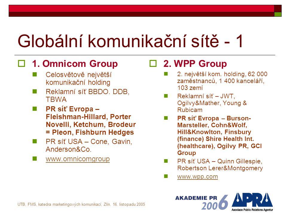 UTB, FMS, katedra marketingových komunikací, Zlín, 16. listopadu 2005 Globální komunikační sítě - 1  1. Omnicom Group Celosvětově největší komunikačn