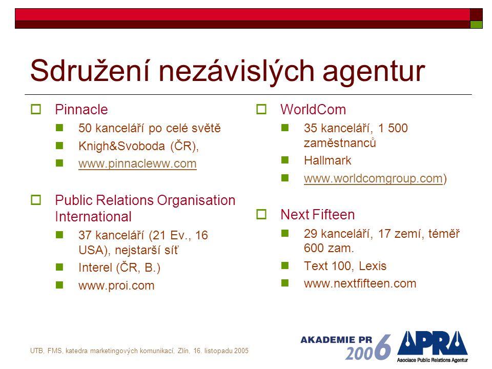 UTB, FMS, katedra marketingových komunikací, Zlín, 16. listopadu 2005 Sdružení nezávislých agentur  Pinnacle 50 kanceláří po celé světě Knigh&Svoboda
