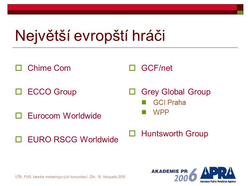 UTB, FMS, katedra marketingových komunikací, Zlín, 16. listopadu 2005 Největší evropští hráči  Chime Com  ECCO Group  Eurocom Worldwide  EURO RSCG