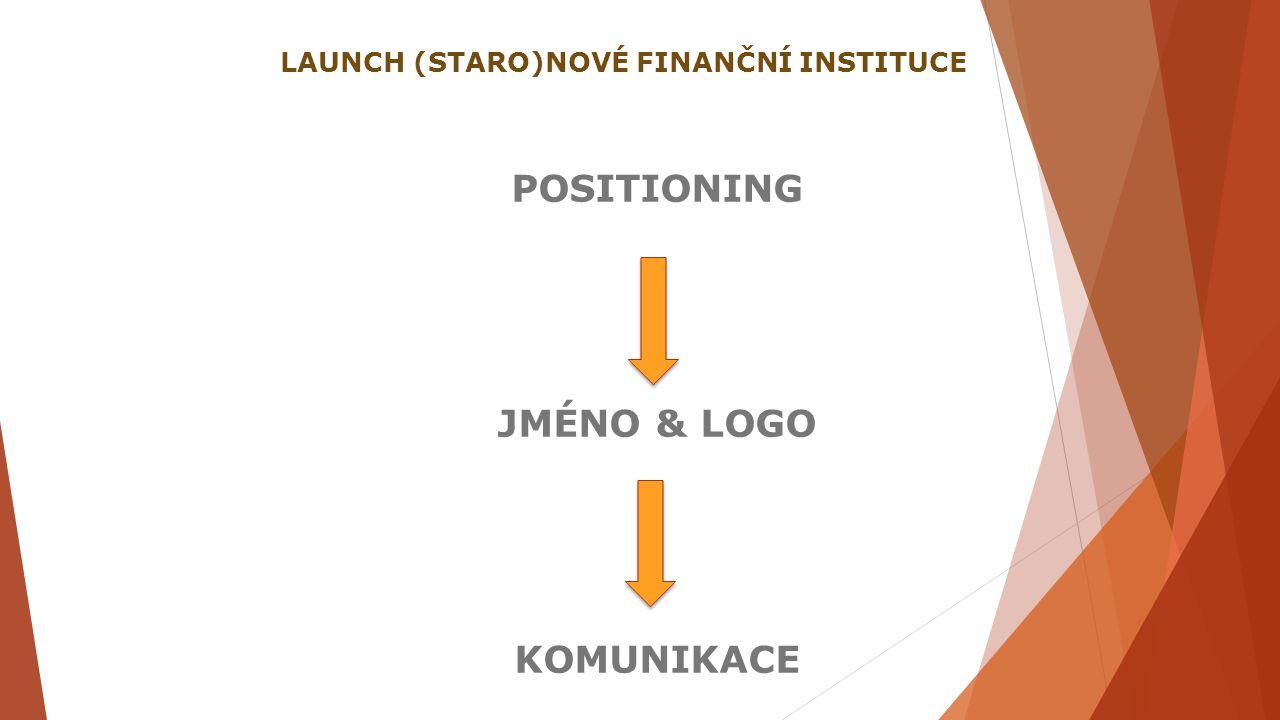 POSITIONING JMÉNO & LOGO KOMUNIKACE LAUNCH (STARO)NOVÉ FINANČNÍ INSTITUCE