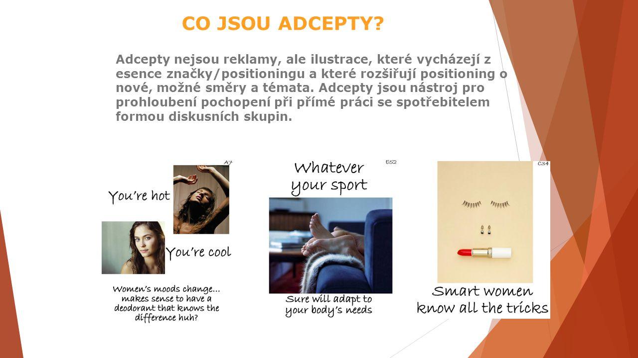 CO JSOU ADCEPTY? Adcepty nejsou reklamy, ale ilustrace, které vycházejí z esence značky/positioningu a které rozšiřují positioning o nové, možné směry