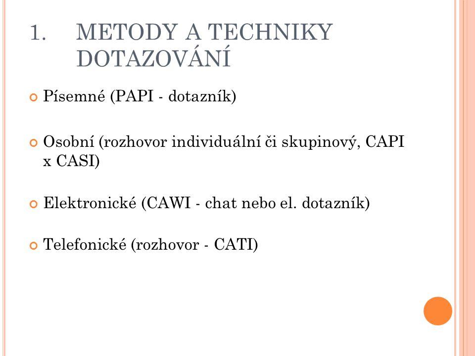 1. METODY A TECHNIKY DOTAZOVÁNÍ Písemné (PAPI - dotazník) Osobní (rozhovor individuální či skupinový, CAPI x CASI) Elektronické (CAWI - chat nebo el.